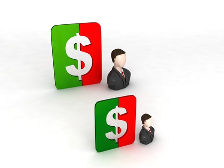 3D businessmen with dollar sign against white background photo