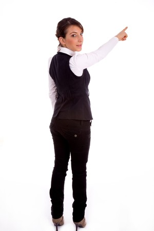 backpose of pointing businesswoman on an isolated white background photo