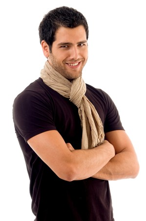 handsome male with folded hands with white background Stock Photo