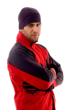 handsome man wearing red winter jacket on an isolated white background photo