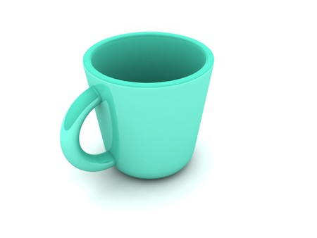 computergraphics: 3D green mug on an isolated background     Stock Photo