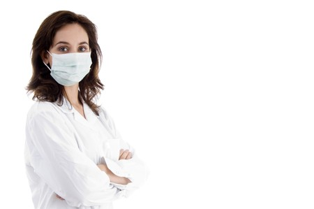 facemask: pose of doctor in facemask on an isolated white background Stock Photo