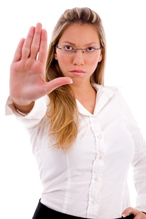 stopping: front view of manager showing stopping gesture on an isolated white background Stock Photo