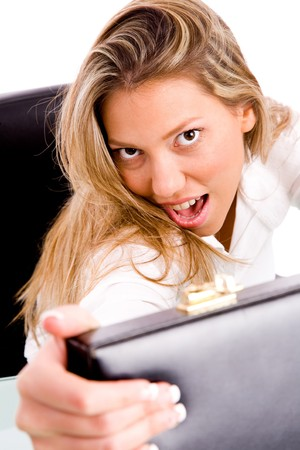 top view of businesswoman opening the bag  in an office photo