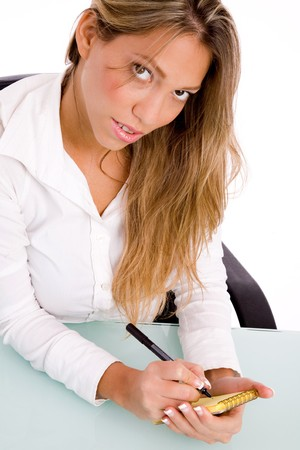 26: top view of manager writing on paper on an isolated background