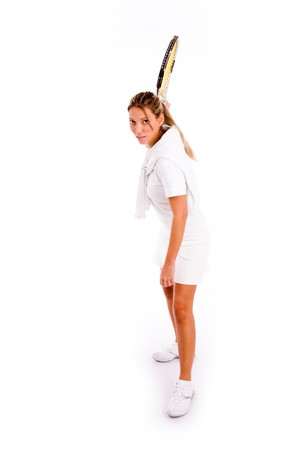 front view of woman playing tennis on an isolated background Stock Photo - 3998412