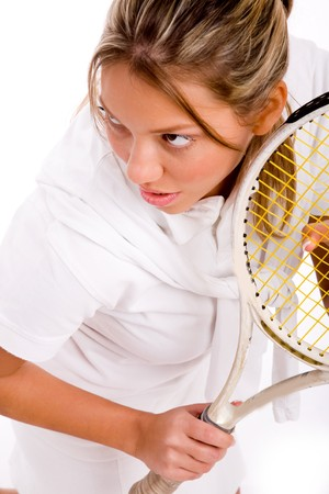 26: top view of adult tennis player on an isolated background