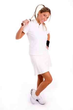 side view of standing tennis player with racket on an isolated background Stock Photo - 3999130