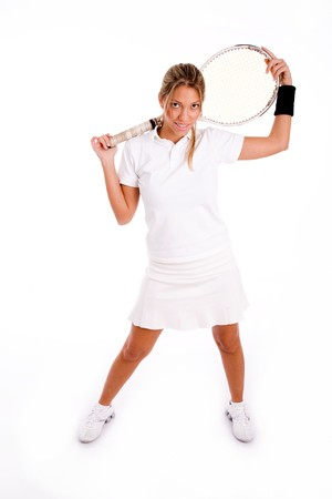 front view of standing tennis player holding racket on an isolated white background Stock Photo - 3999131
