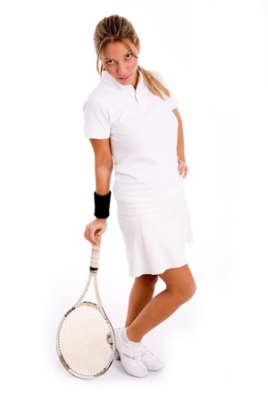 26: side view of standing player with tennis racket on an isolated white background