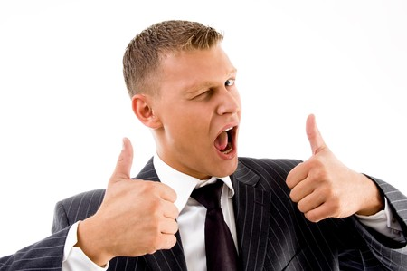 successful professional person showing thumbs up on an isolated background Stock Photo - 4003917