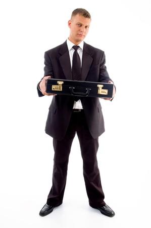 usługodawcy: przystojny usługodawcy pokazano jego biurze worek wyizolowanych na białym tle