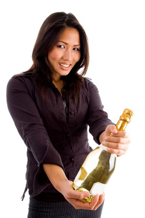 happy asian female holding champaign bottle with white background photo