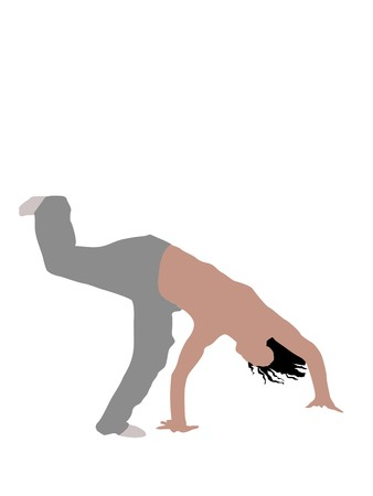 stunt: man doing  handstand on white background