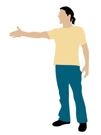 hand position: hombre de permanente fr�o agitando la posici�n de la mano sobre fondo aislado