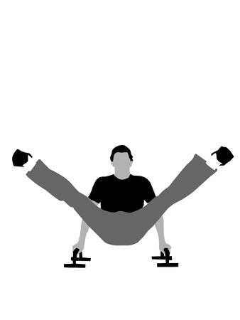 fitnessman posing with help of push-ups on isolated background Stock Photo - 4018166