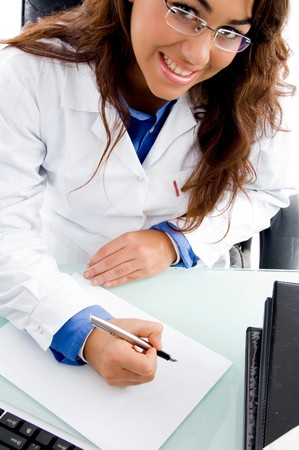 high angle view of smiling medical professional in an office photo