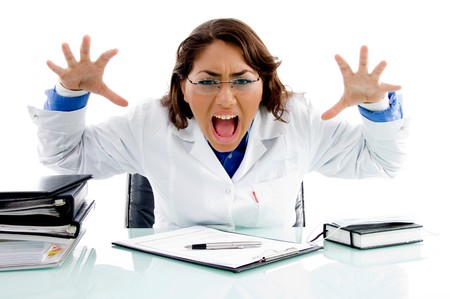 shouting medical professional in an office photo