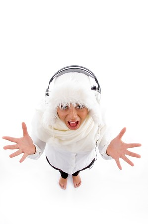26: high angle view of pleased woman with headphone on an isolated white background Stock Photo