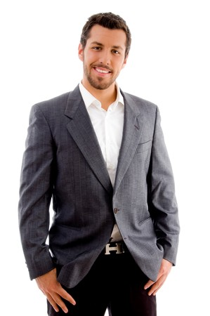 young handsome professional on an isolated white background Standard-Bild