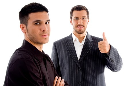 successful businesspeople with thumbs up hand gesture against white background photo