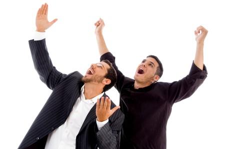 businesspeople enjoying success against white background photo