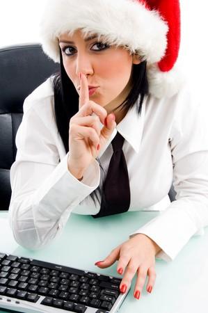 christmas female keep shushing against white background Stock Photo - 4051363