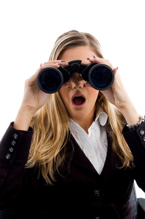 eyeing: young woman eyeing with binoculars with white background