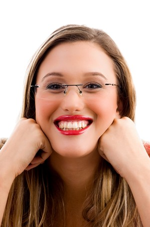 21: close up of caucasian model smiling with white background