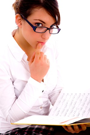 side pose of female student with books on an isolated white background photo