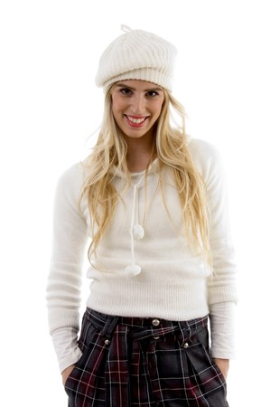 front view of smiling female with hat against white background photo
