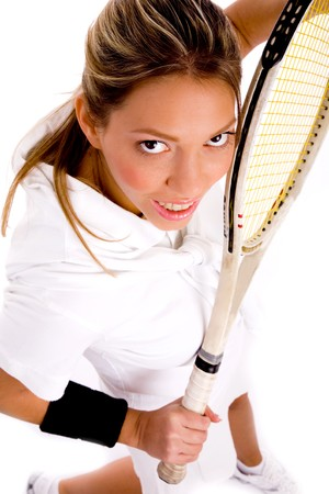 top view of tennis player on an isolated white background photo