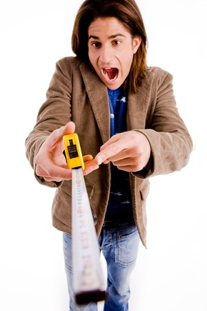 front view of man showing measuring tape on an isolated white background photo