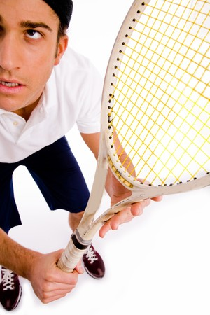top view of tennis player with racket on an isolated white background photo