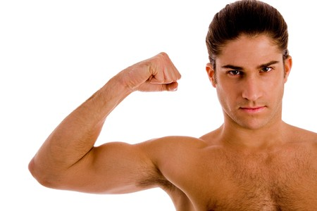 six packs: portrait of muscular male against white background Stock Photo