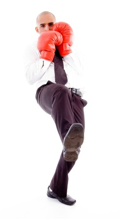 male posing in boxing gloves with white background photo
