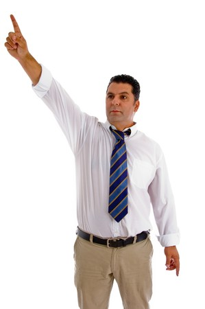 sideway: serious businessman pointing sideway against white background
