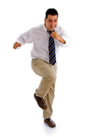 dancing businessman against white background Stock Photo - 4363254