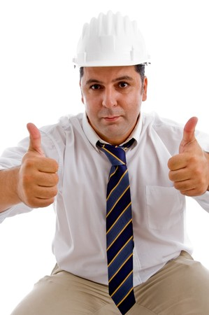 goodluck: american architect with goodluck handgesture isolated with white background Stock Photo