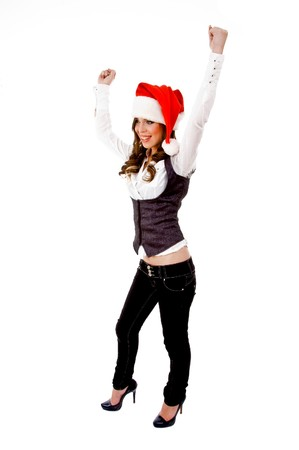 sidepose of happy christmas woman with white background photo