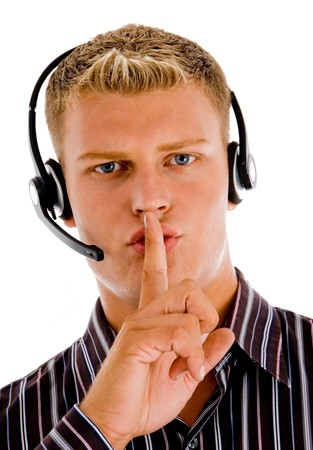 customer cilent indicating for silent with white background Stock Photo