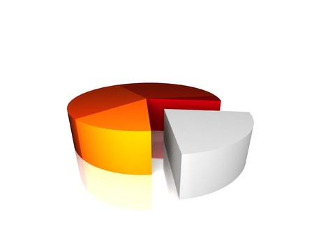 side view of 3d pie chart on an isolated white background photo