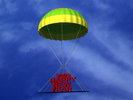 three wishes: three dimensional parachute with text in the sky