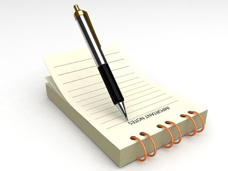 3d pen and notepad with white background photo