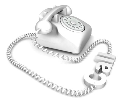 digitally generated: three dimensional isolated rendered telephone Stock Photo