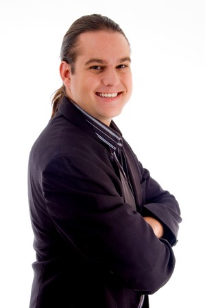 portrait of young handsome businessman with white background