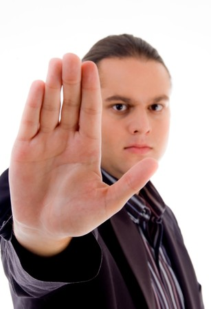 man showing stopping gesture on an isolated white background