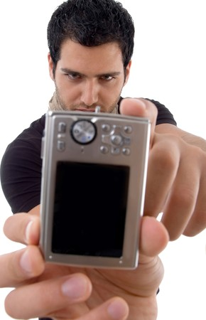 handsome male showing digital camera against white background photo