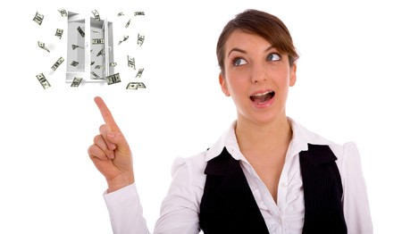 money out of the window. money concept of woman photo