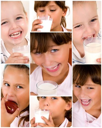 youth, health and milk concept of kids photo